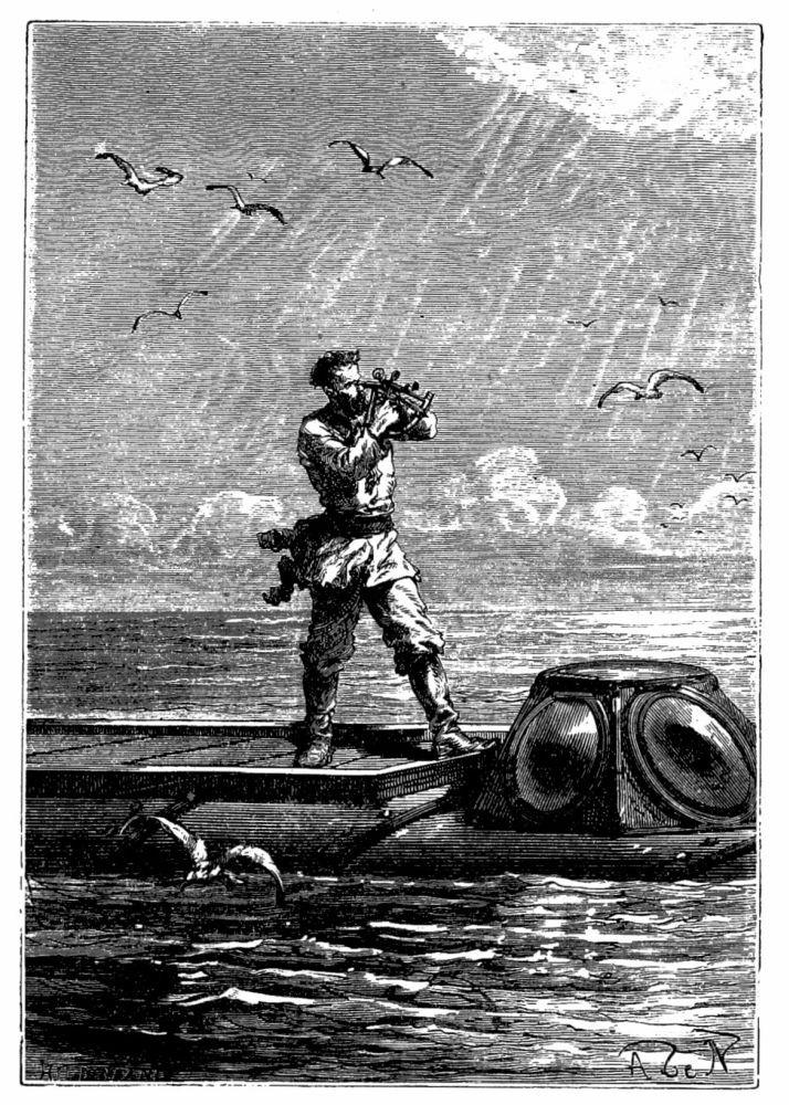 Kapitän Nemo nimmt den Höhenstand der Sonne auf, Illustration der Zeichner Alphonse de Neuville und Édouard Riou, Quelle: Wikipedia